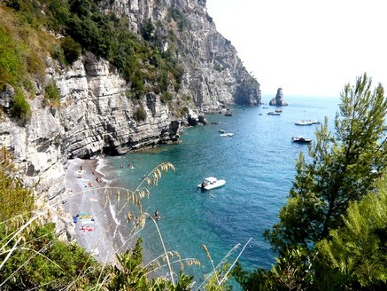 Boat in cove at Vico Equense on the Amalfi Coast