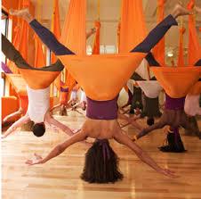 Aerial yoga class in studio